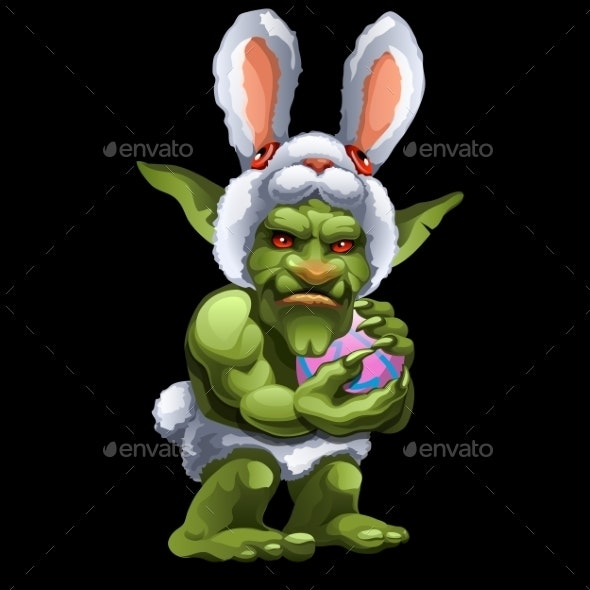Funny Green Troll In Bunny Suit With Ball - Monsters Characters