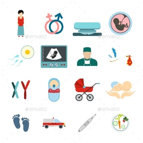 Pregnancy Flat Icons Set - Miscellaneous Icons