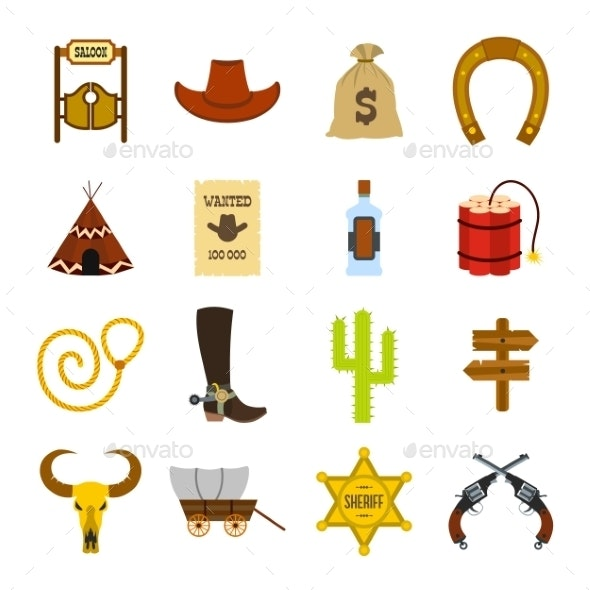 Wild West Cowboy Flat Icons  - Miscellaneous Icons