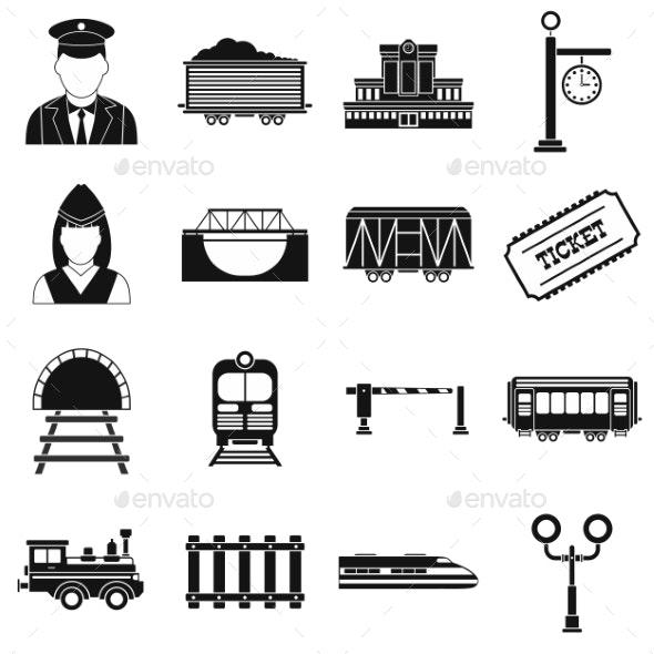 Railroad Black Simple Icons Set - Miscellaneous Icons