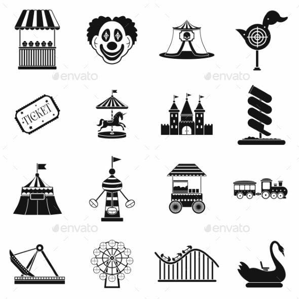 Amusement Park Black Simple Icons Set