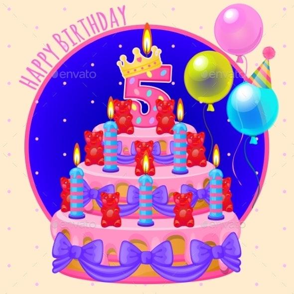 Holiday Cake With Candles And Balloons - Birthdays Seasons/Holidays