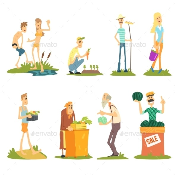 Summer Farm Activities. Vector Set - Flowers & Plants Nature