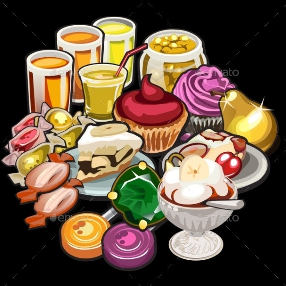 Big Set Of Juices, Candy, Desserts - Food Objects