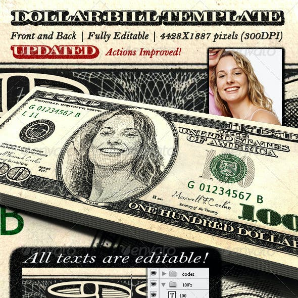 Dollar Bill Template - Front and Back