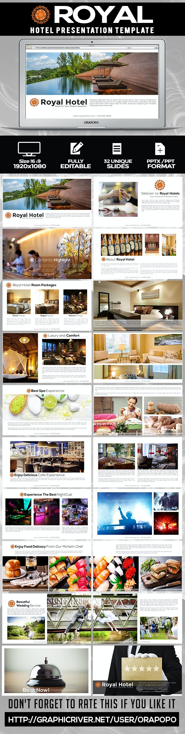Royal ~ Hotel Presentation Template - Creative PowerPoint Templates