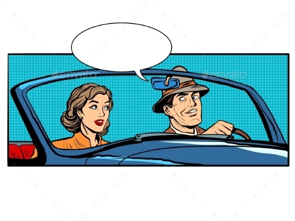 Couple Man And Woman In Convertible Car - People Characters