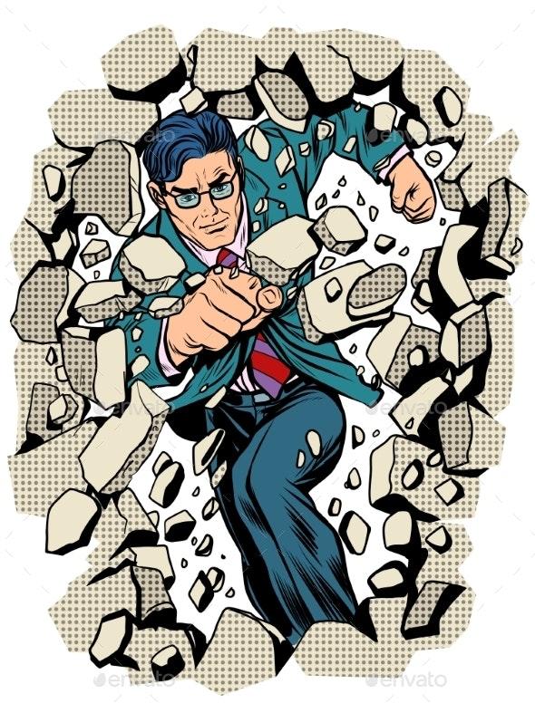 Power Business Businessman Breaks Wall - People Characters