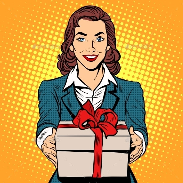 Business Woman With Gift Box - People Characters