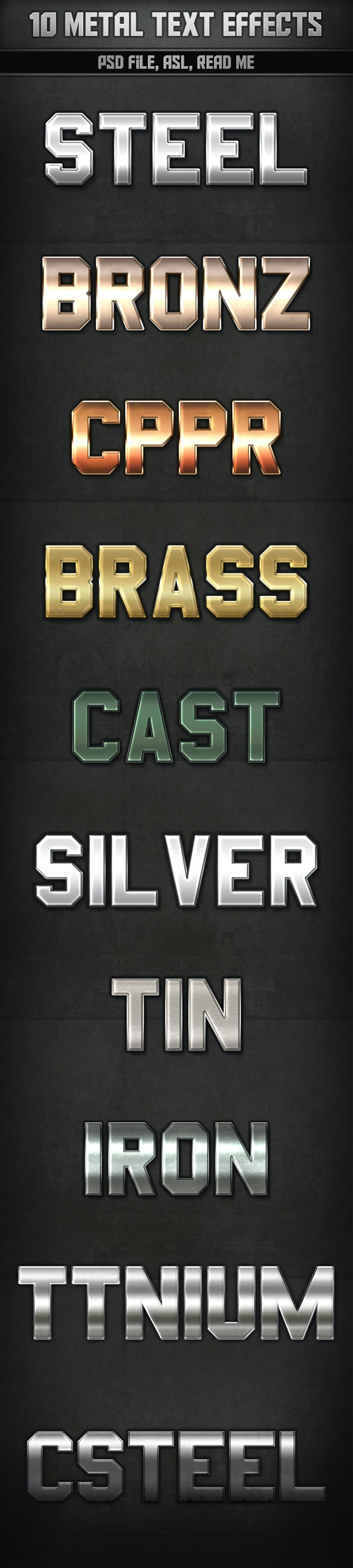 10 Metal Text Effects - Text Effects Styles