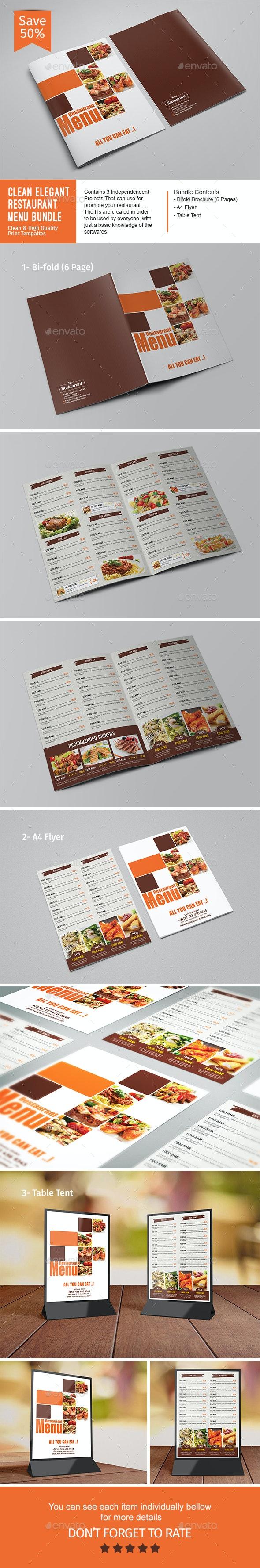 Clean Elegant Restaurant Menu Bundle - Food Menus Print Templates