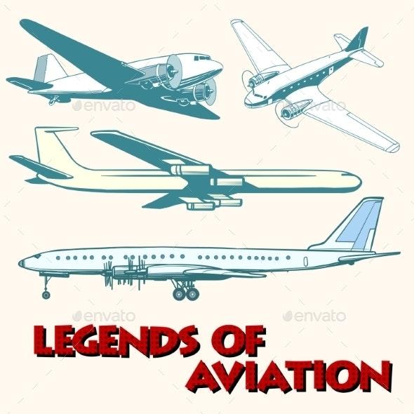 Set Of Abstract Retro Planes - Travel Conceptual