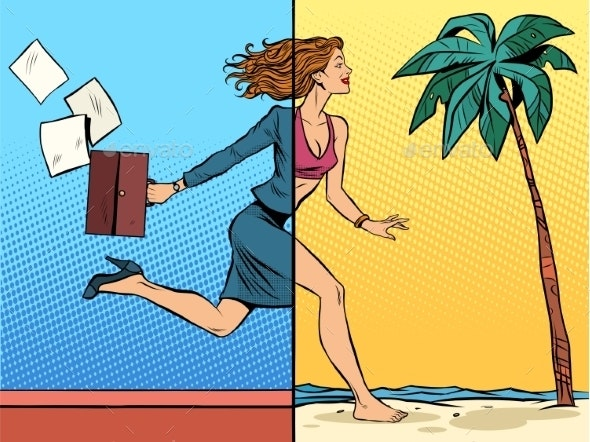Business Woman Dreaming About Vacation At Sea - Travel Conceptual