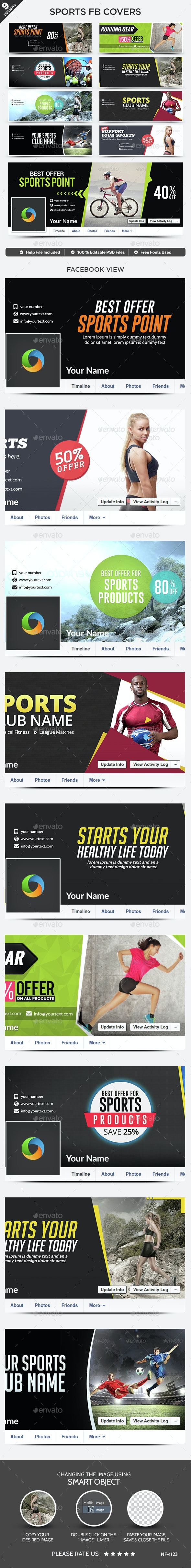 Fitness & Sports Facebook Covers - 9 Designs - Facebook Timeline Covers Social Media