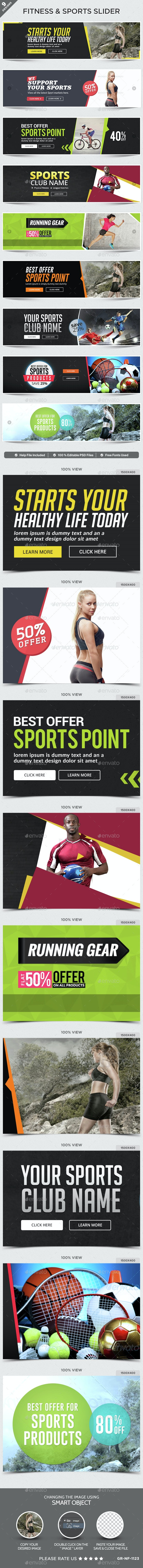 Fitness & Sports Sliders - 9 Designs - Sliders & Features Web Elements