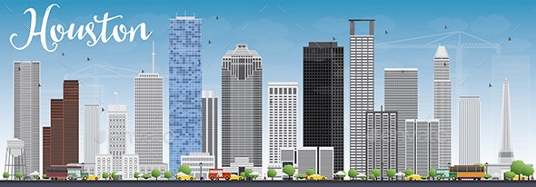 Houston Skyline with Gray Buildings  - Buildings Objects