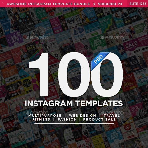 Mega Instagram Banners Bundle - 100 Templates