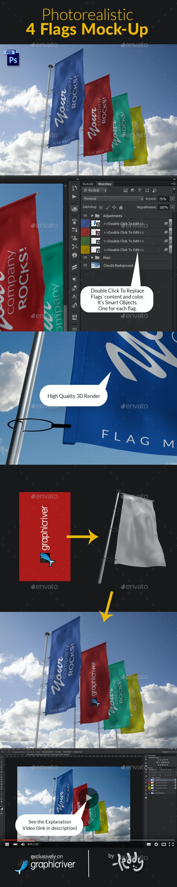 4 Flags MockUp - Product Mock-Ups Graphics