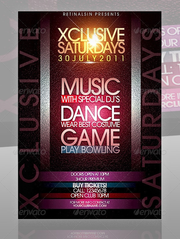 Xclusive Saturdays Flyer - Clubs & Parties Events