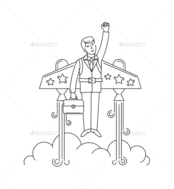 Businessman Flying on a Jetpack to Success - Concepts Business