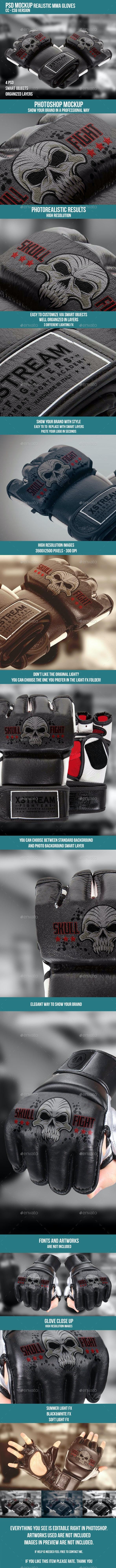 Mma Gloves PSD Mockup - Product Mock-Ups Graphics