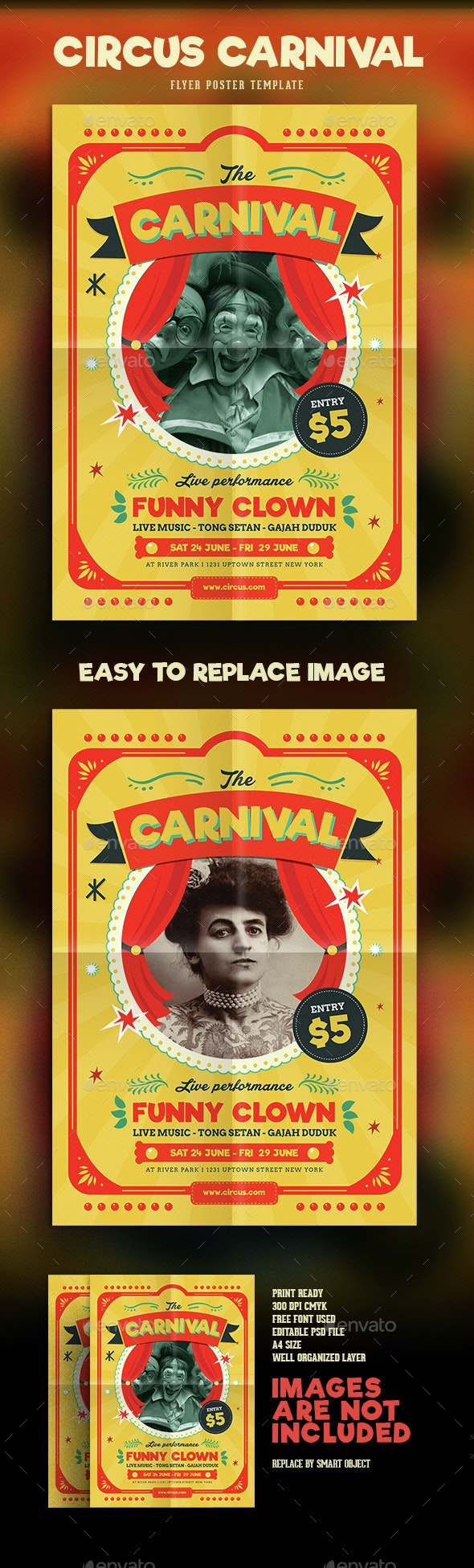 Retro Circus Carnival Flyer - Events Flyers