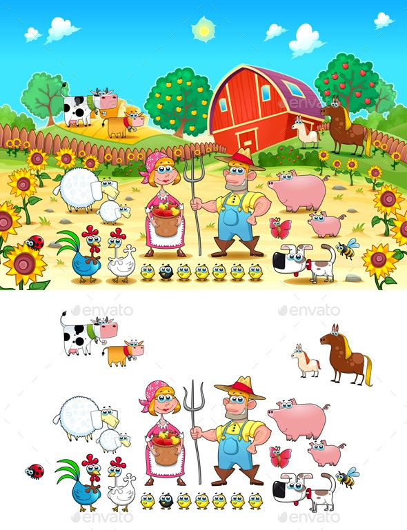 Funny Farm Scene with Animals and Farmers - Animals Characters