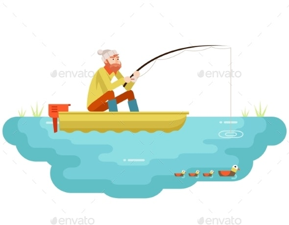 Lake Fishing Adult Fisherman With Fishing Rod Boat - People Characters