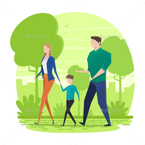 Happy Family Walking in the Park - Characters Vectors