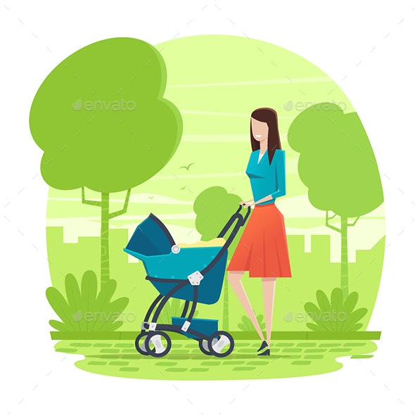 Mother Walking with baby in the Park - Characters Vectors