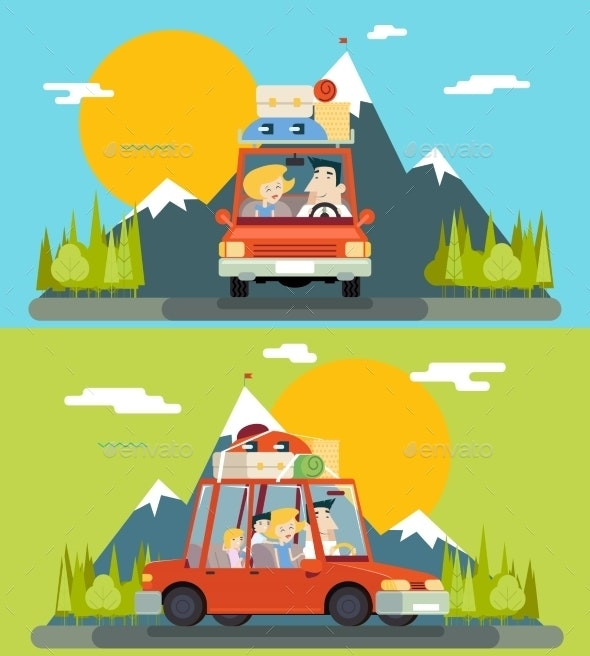 Car Trip Family Adult Children Road Concept Flat - People Characters