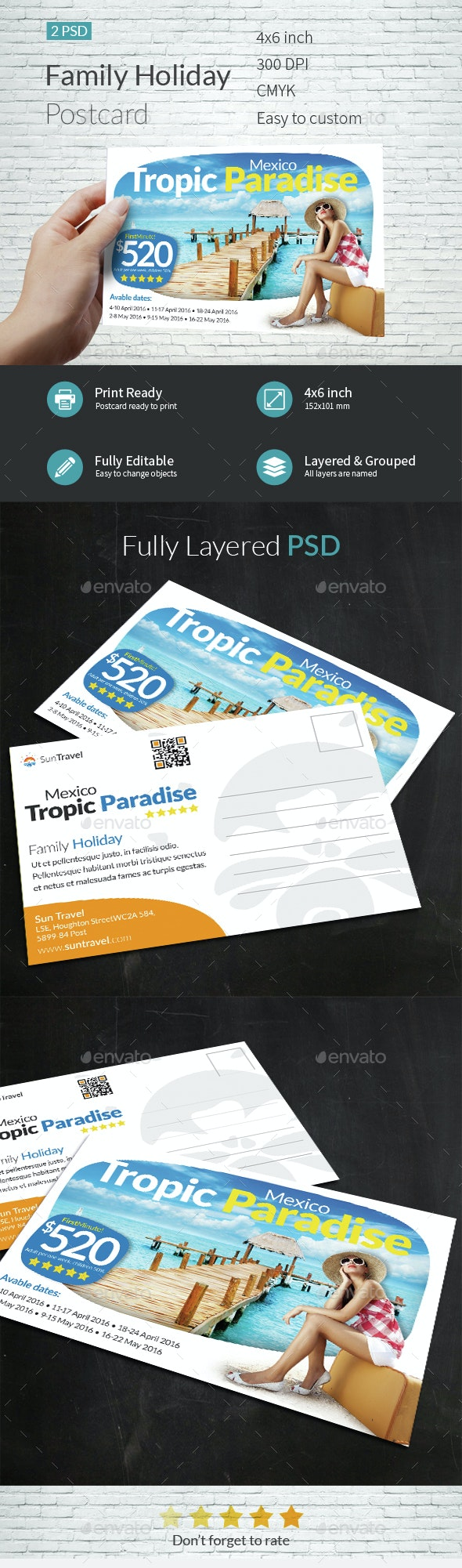 Family Holiday Postcard Template - Cards & Invites Print Templates