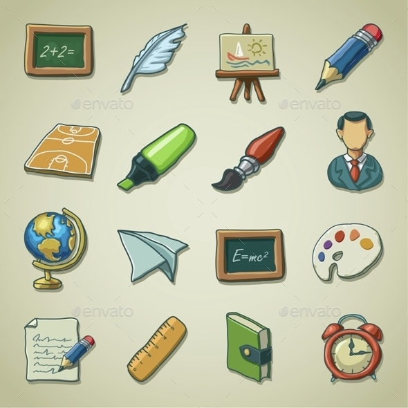 Freehand icon set - School - Miscellaneous Icons