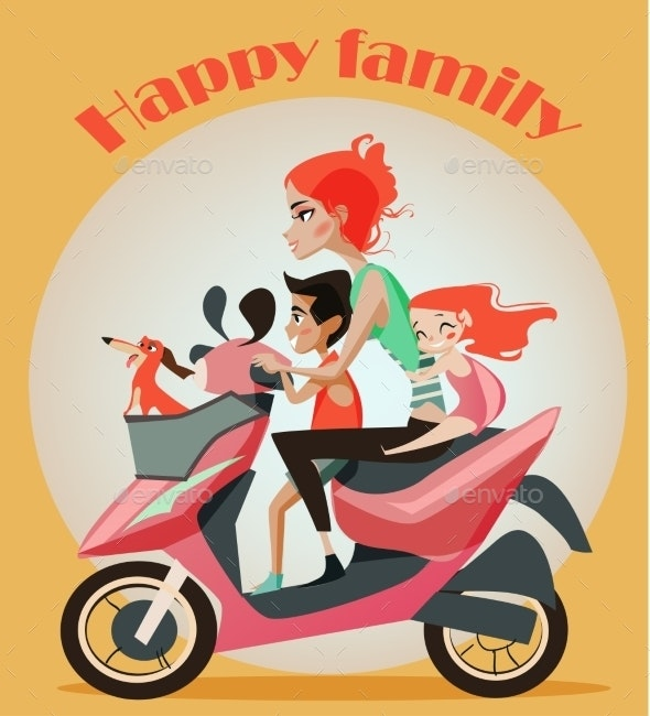 Family Of Mother And Two Kids On Motorbike. - People Characters