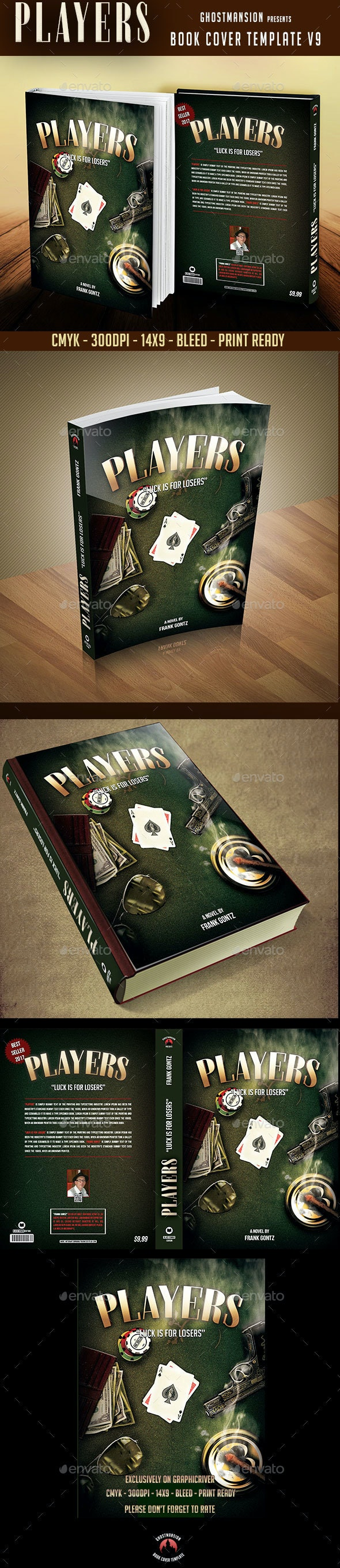 """Player"" Book Cover Template PSD V9 - Print Templates"
