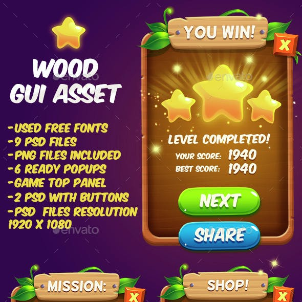 Fantasy Wood Game Interface