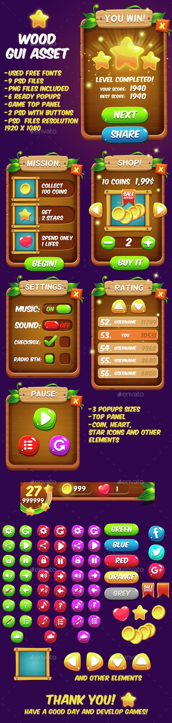 Fantasy Wood Game Interface - User Interfaces Game Assets