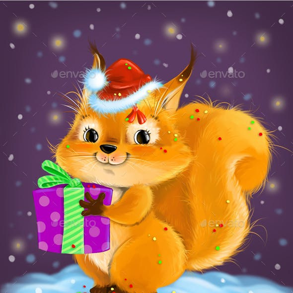 Squirrel with a gift