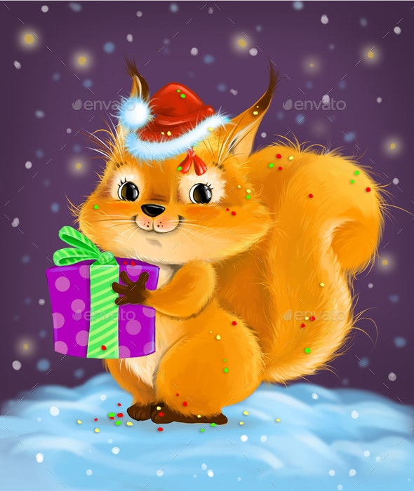 Squirrel with a gift - Animals Illustrations