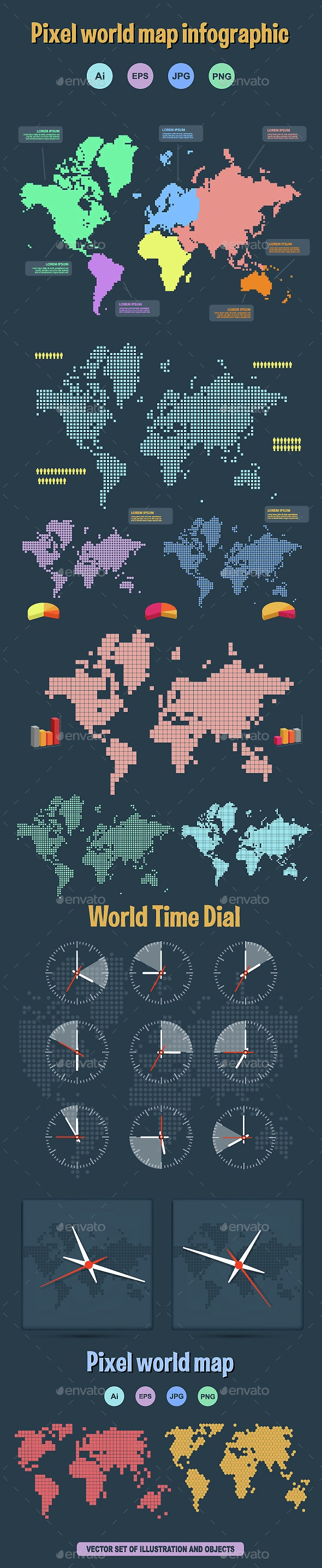 Pixel World Map - Decorative Symbols Decorative