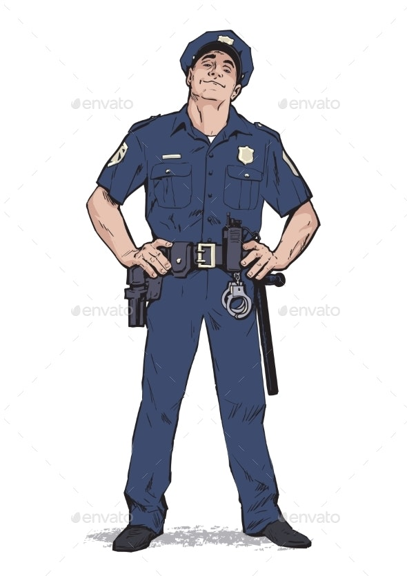 Policeman Stands Upright - People Characters
