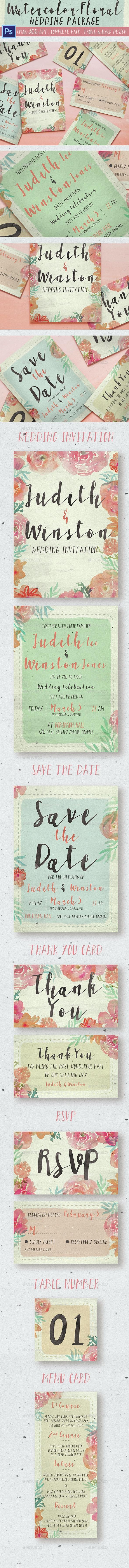 Watercolor Floral Wedding Package - Weddings Cards & Invites