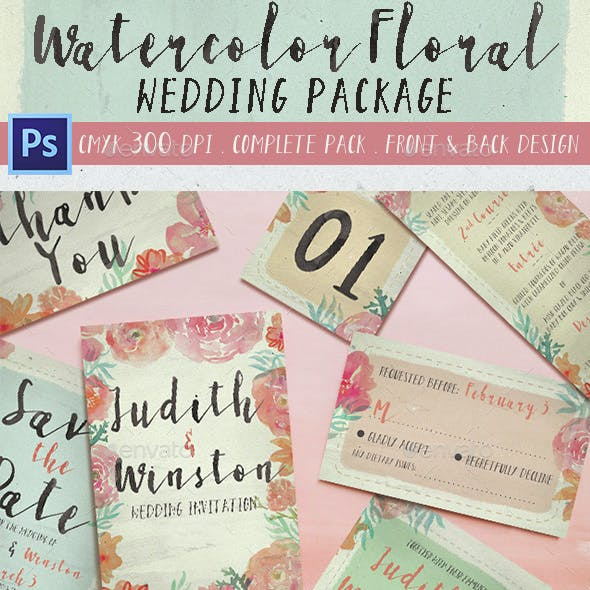 Watercolor Floral Wedding Package
