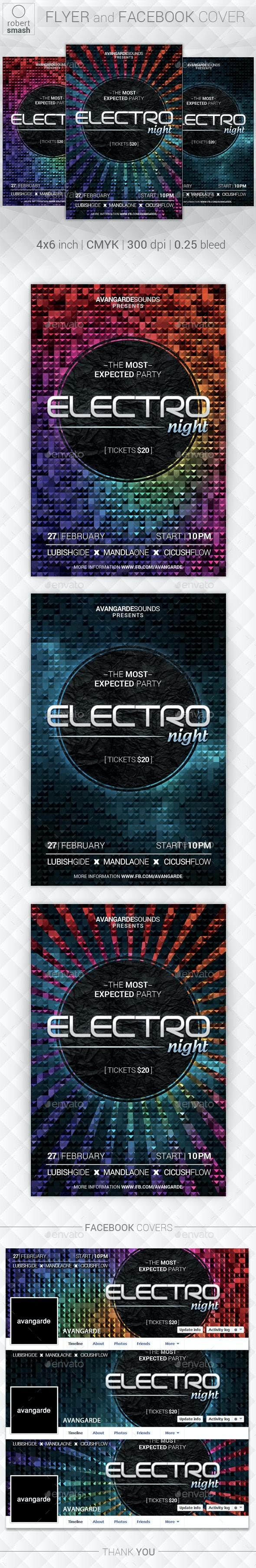 Electro Night Music Flyer - Clubs & Parties Events