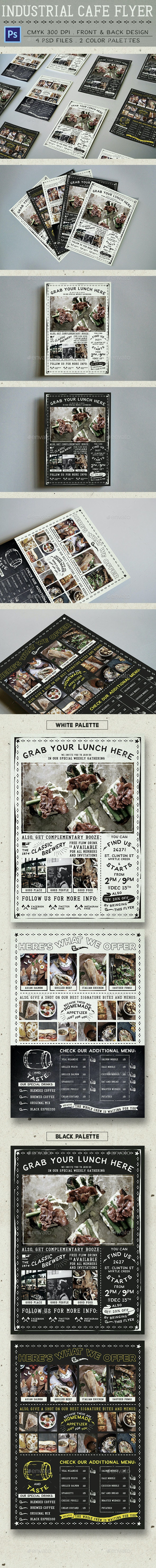 Industrial Cafe Flyer - Food Menus Print Templates