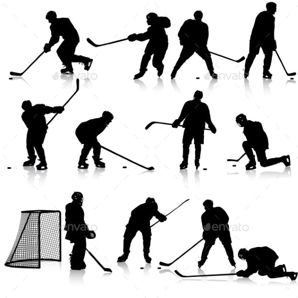 Set of Silhouettes of Hockey Players