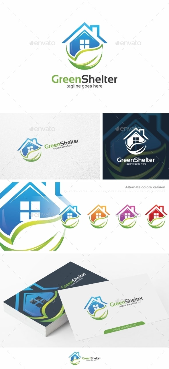 Green Shelter / House - Logo Template - Buildings Logo Templates