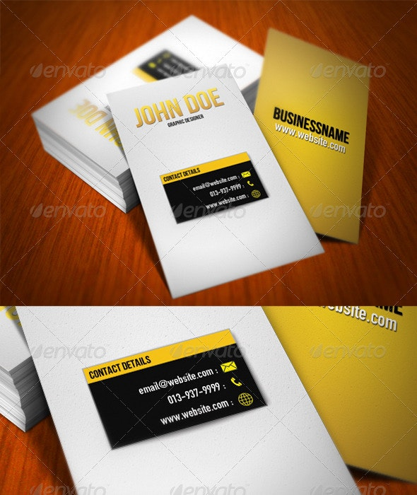 Fancy Yellow Box Business Card - Corporate Business Cards