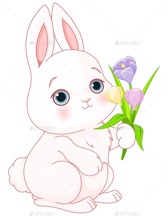 Bunny and Flowers - Animals Characters