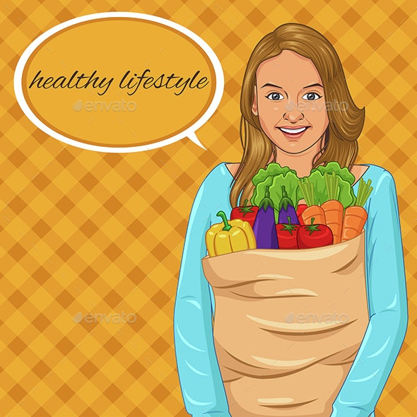 Girl Holding Paper Bag Full of Vegetables - Food Objects
